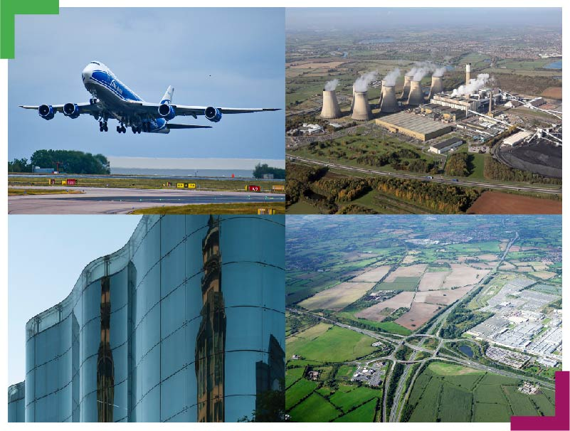 Collage showing the sites within East Midlands Global Gateway